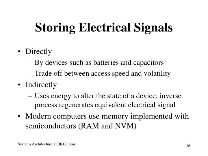 Storing Electrical Signals