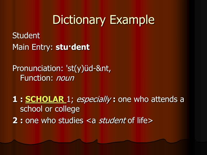 Dictionary example