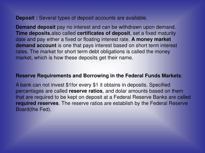 Deposit :