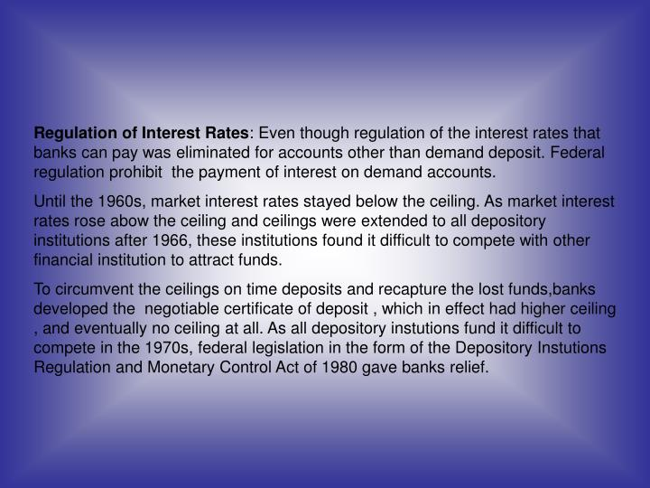 Regulation of Interest Rates