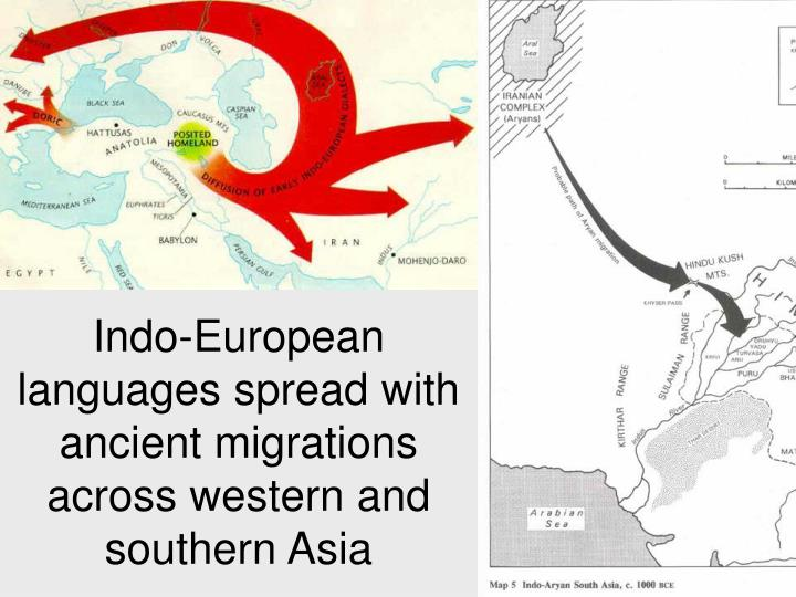 Indo-European languages spread with ancient migrations across western and southern Asia