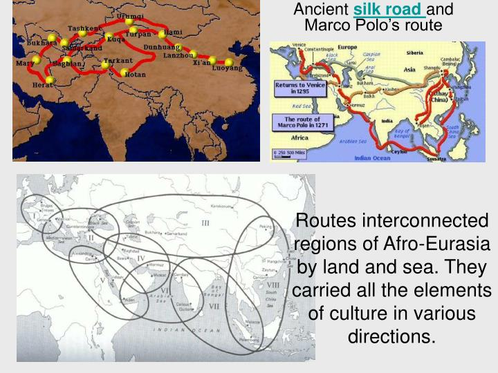 Routes interconnected regions of Afro-Eurasia by land and sea. They carried all the elements of culture in various directions.