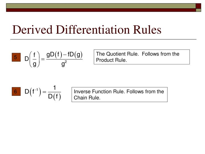 Derived Differentiation Rules