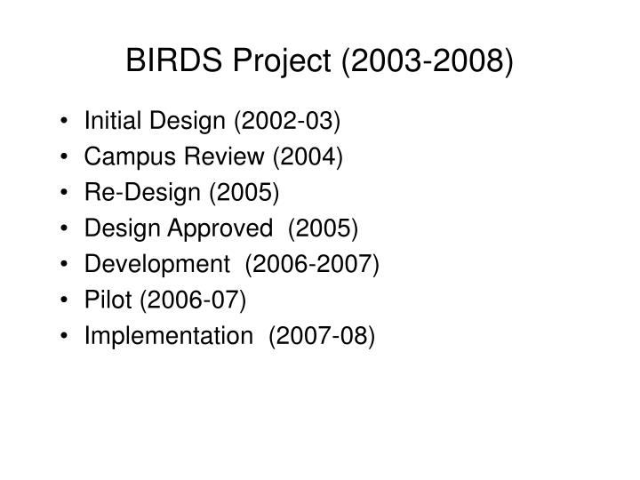 Birds project 2003 2008