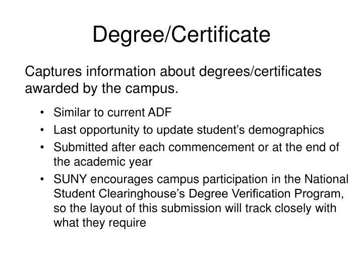 Degree/Certificate