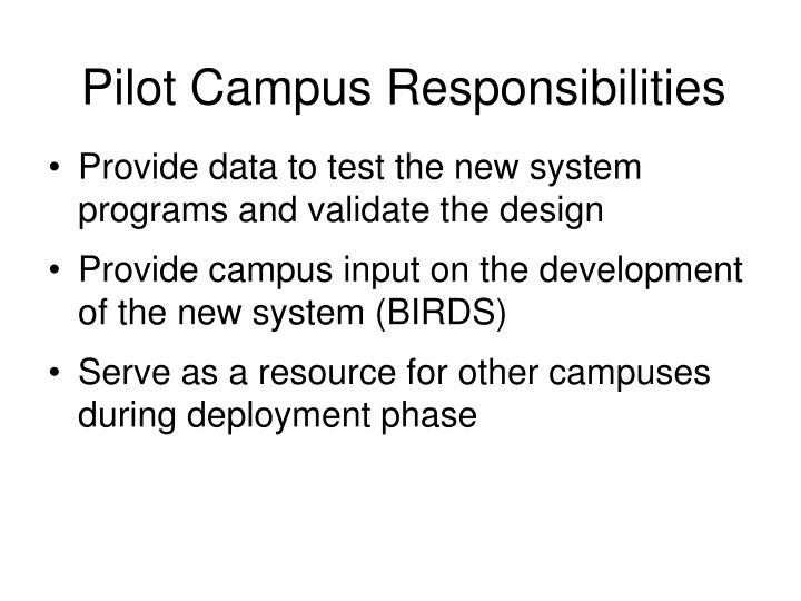 Pilot Campus Responsibilities