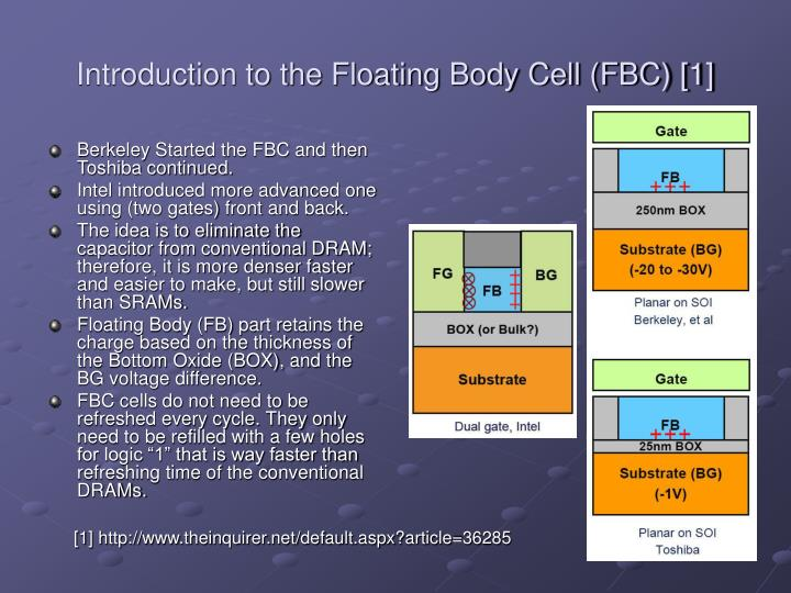 Introduction to the Floating Body Cell (FBC) [1]