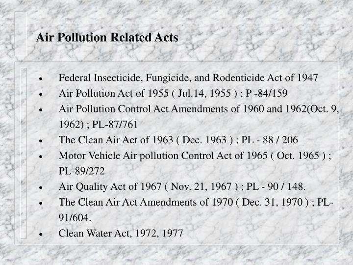 Air Pollution Related Acts
