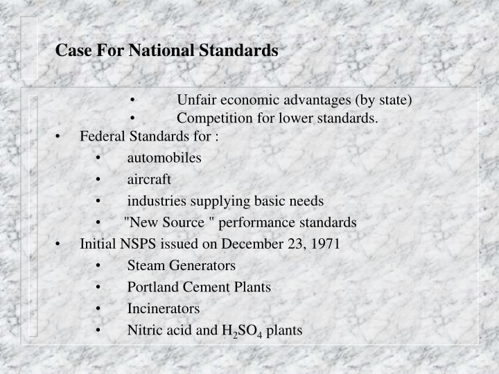 Case For National Standards