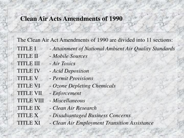 Clean Air Acts Amendments of 1990
