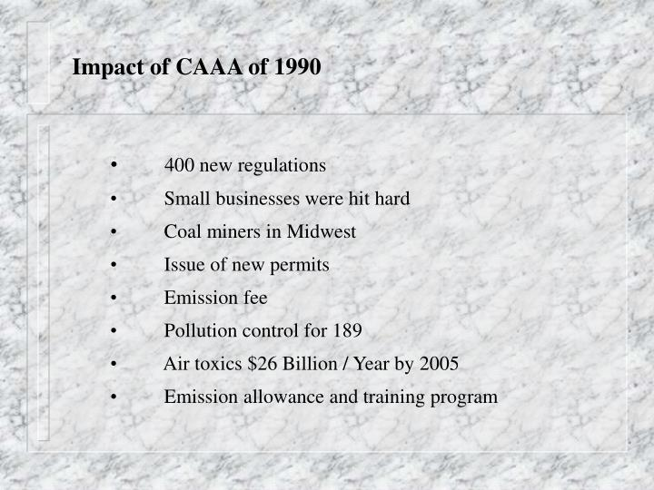 Impact of CAAA of 1990