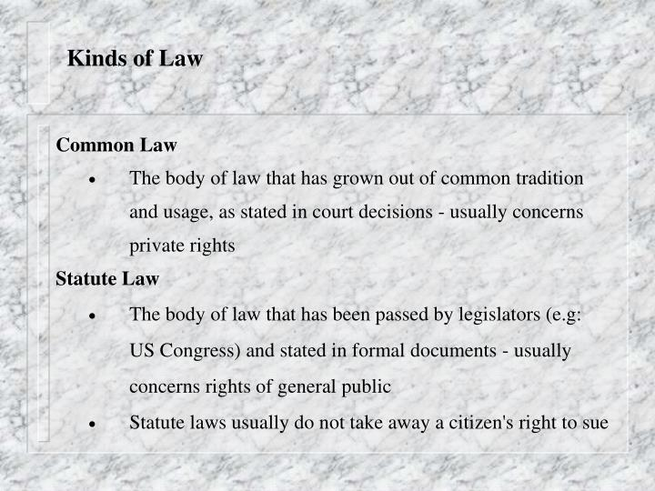 Kinds of Law