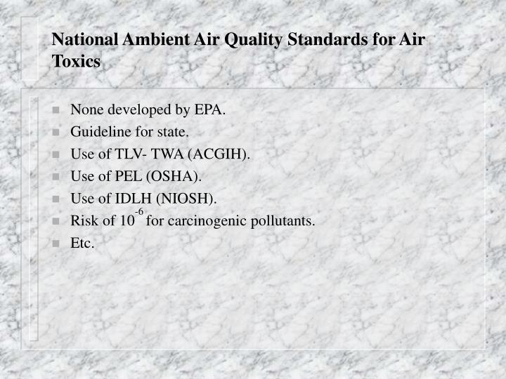 National Ambient Air Quality Standards for Air Toxics