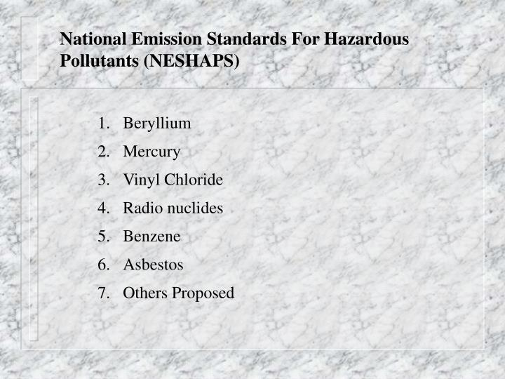 National Emission Standards For Hazardous Pollutants (NESHAPS)
