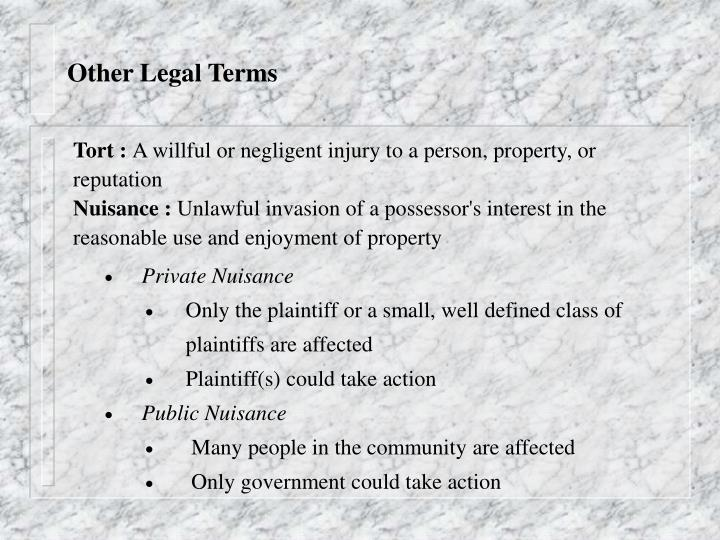 Other Legal Terms