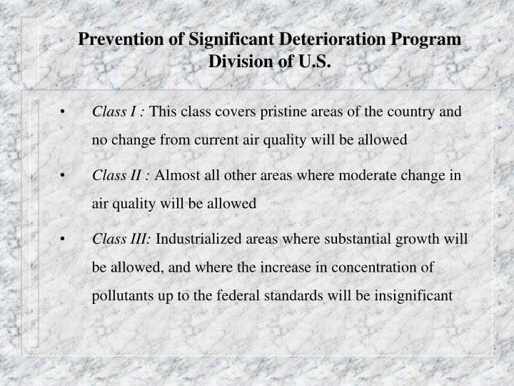 Prevention of Significant Deterioration Program
