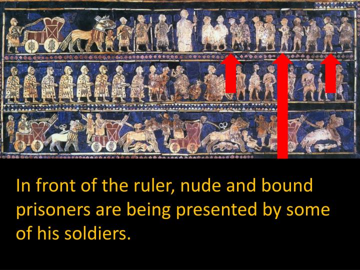 In front of the ruler, nude and bound prisoners are being presented by some of his soldiers.