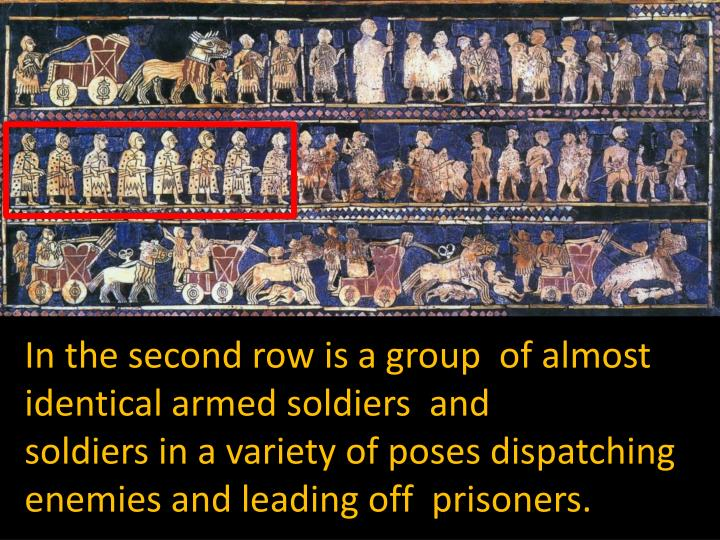In the second row is a group  of almost identical armed soldiers  and