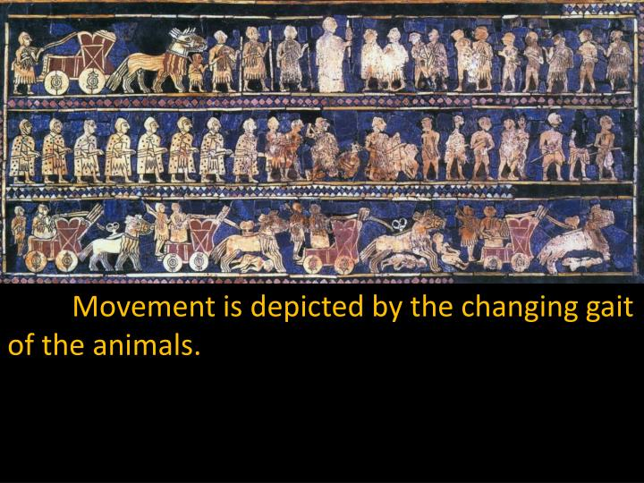 Movement is depicted by the changing gait of the animals.