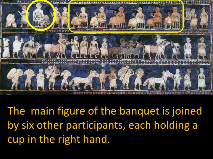 The  main figure of the banquet is joined by six other participants, each holding a cup in the right hand.