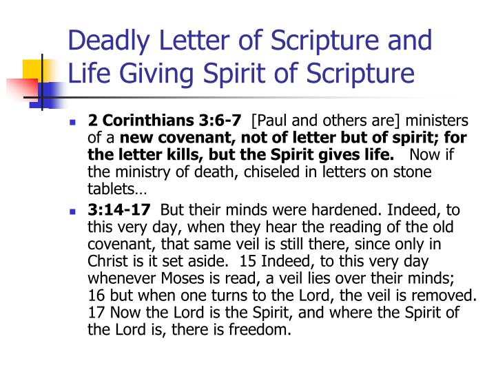 Deadly Letter of Scripture and