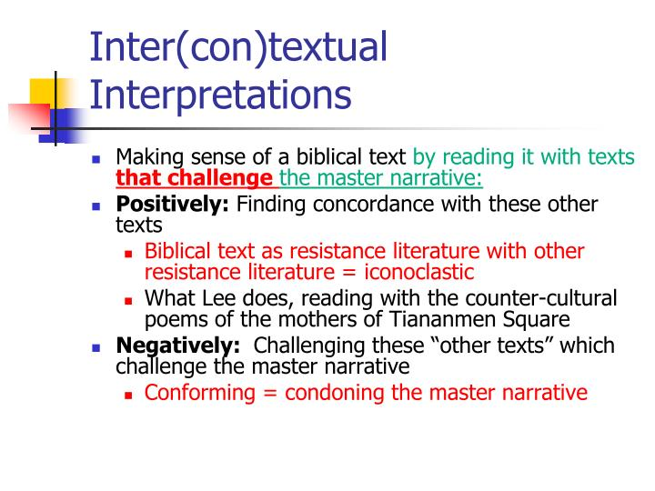 Inter(con)textual Interpretations