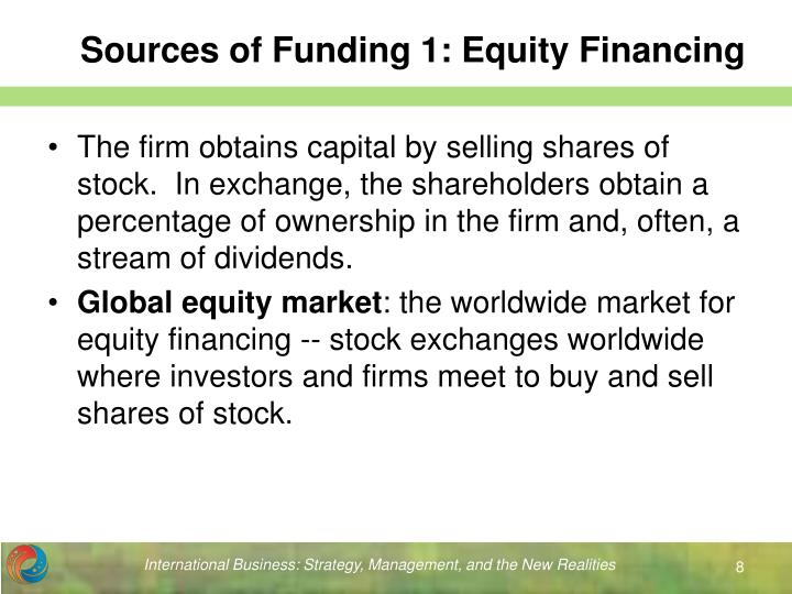 source of equity Definition of equity injection: inserting equity in the form of capital or cash for the purpose of lowering debt ratios and/or providing capital to.