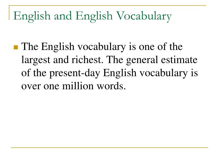 English and English Vocabulary