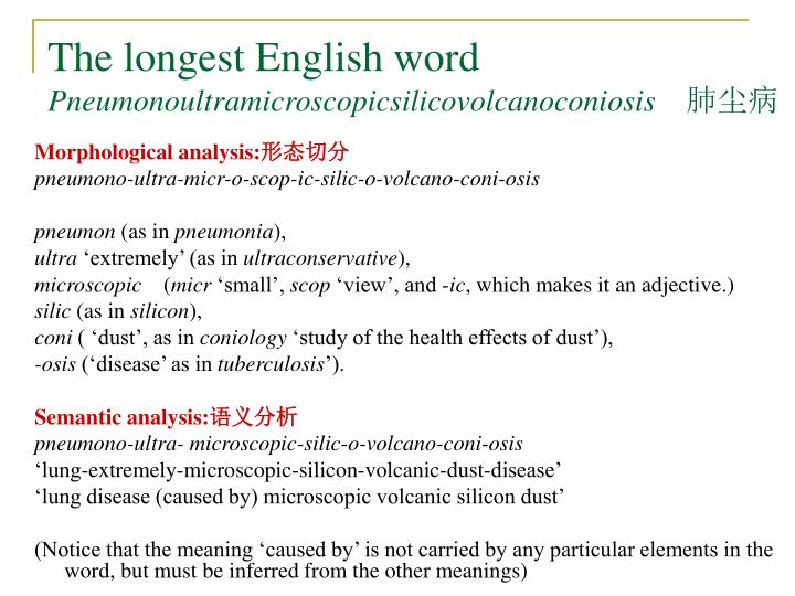 The longest English word