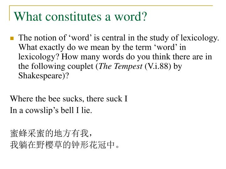 What constitutes a word?