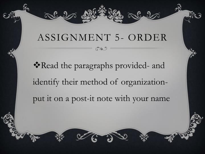 Assignment 5- order
