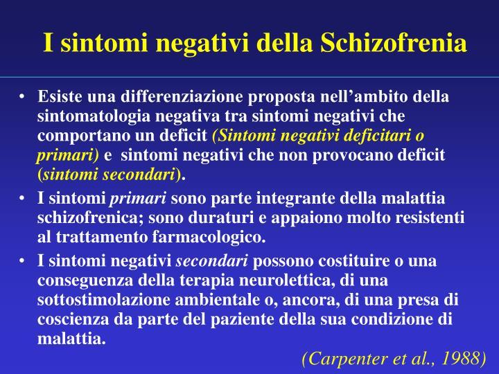 I sintomi negativi della Schizofrenia