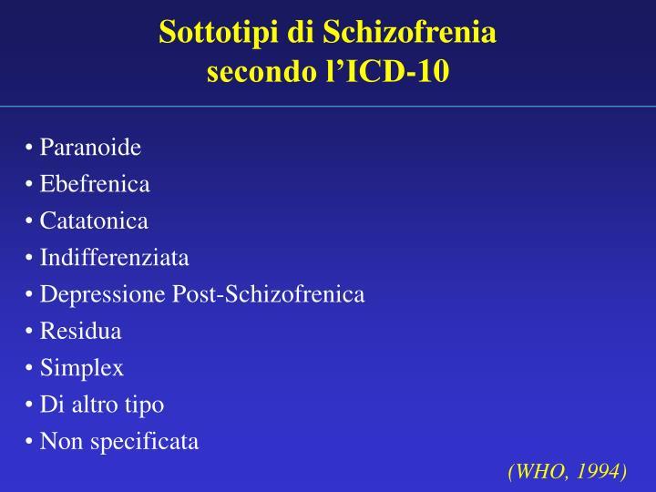 Sottotipi di Schizofrenia