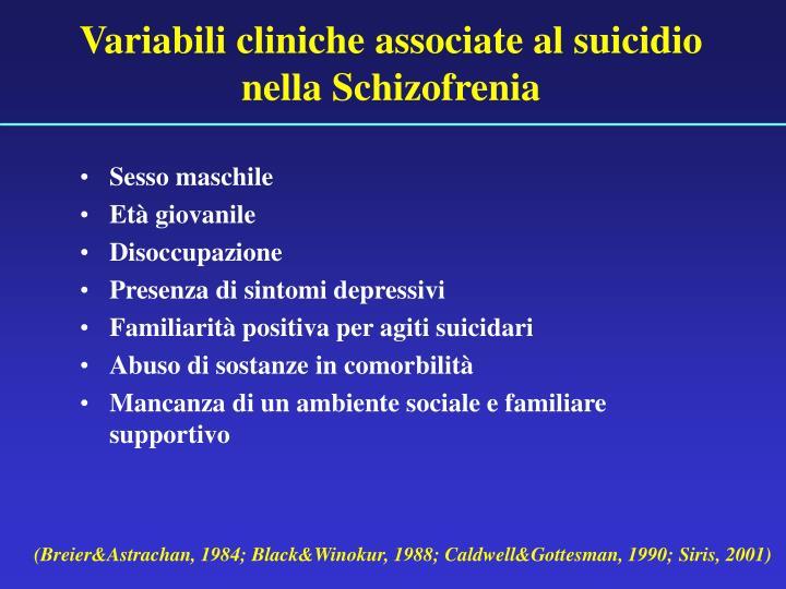 Variabili cliniche associate al suicidio nella Schizofrenia