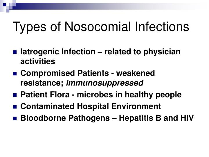 Types of Nosocomial Infections