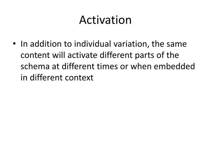 Activation
