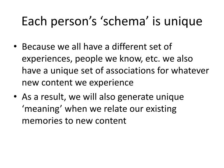 Each person's 'schema' is unique
