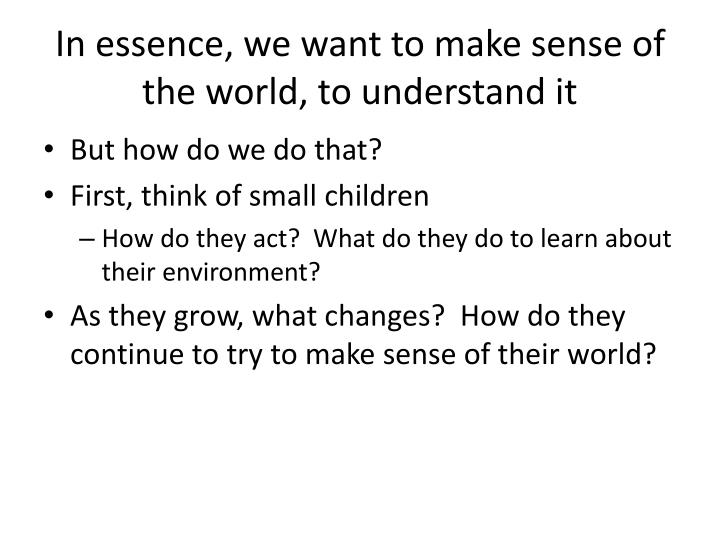 In essence we want to make sense of the world to understand it