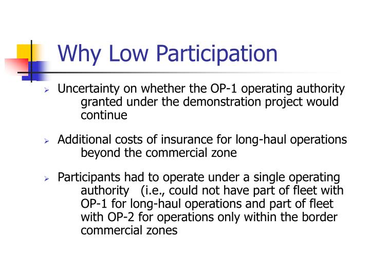 Why Low Participation
