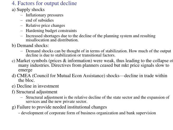 4. Factors for output decline