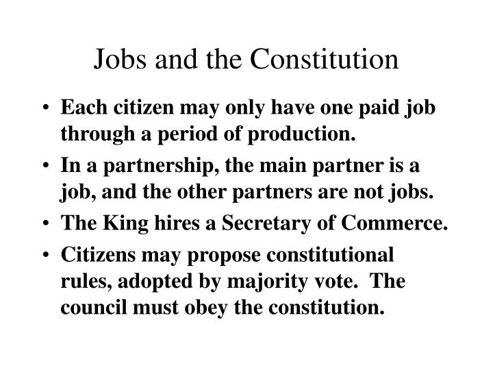 Jobs and the Constitution