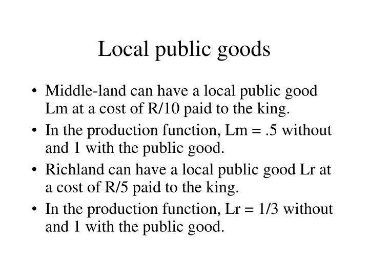 Local public goods