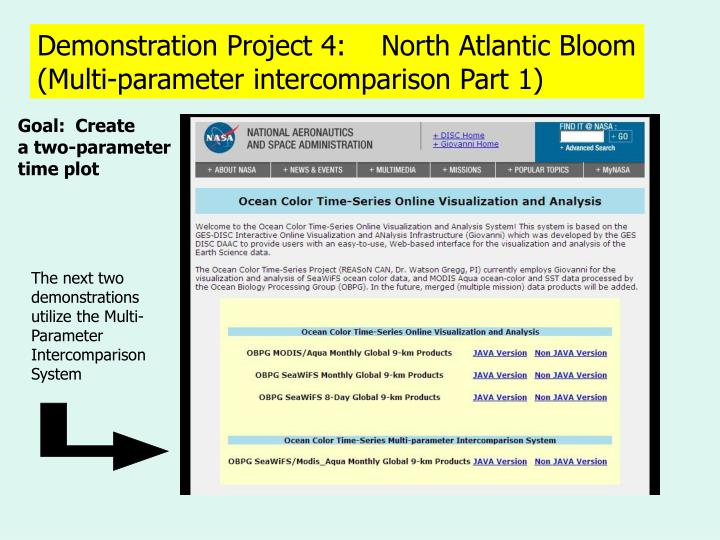 Demonstration Project 4:    North Atlantic Bloom