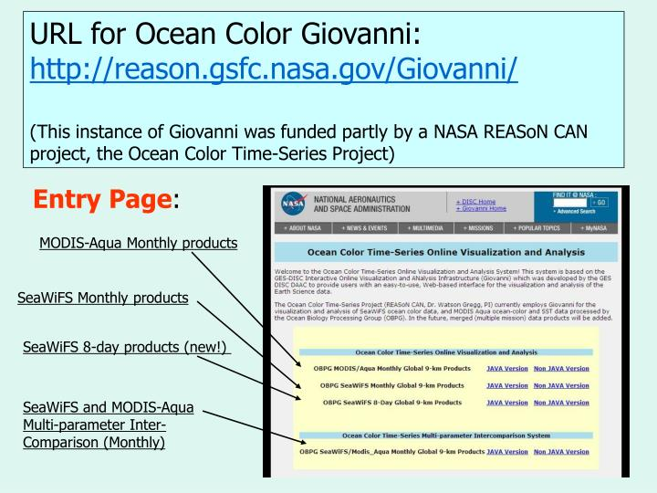 URL for Ocean Color Giovanni: