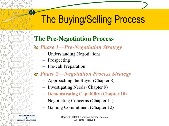 The buying selling process