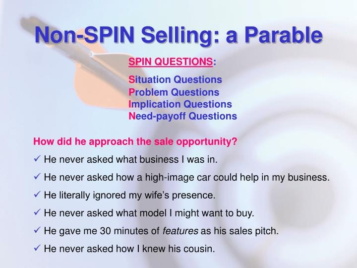 Non-SPIN Selling: a Parable