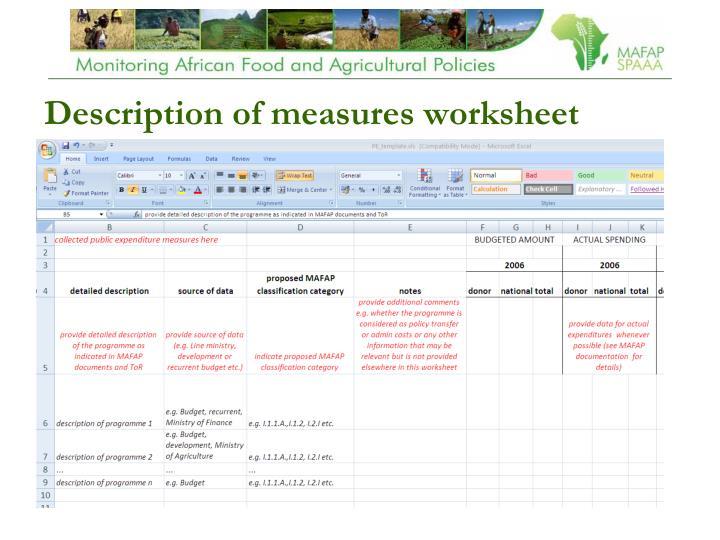 Description of measures worksheet