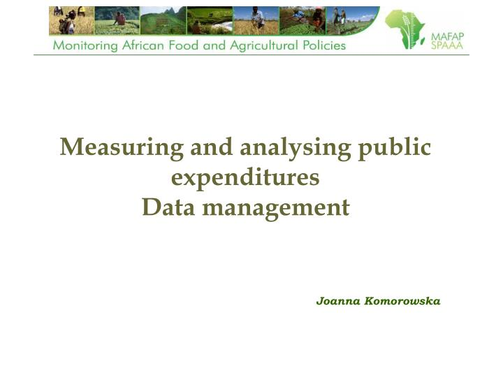 measuring and analysing public expenditures data management