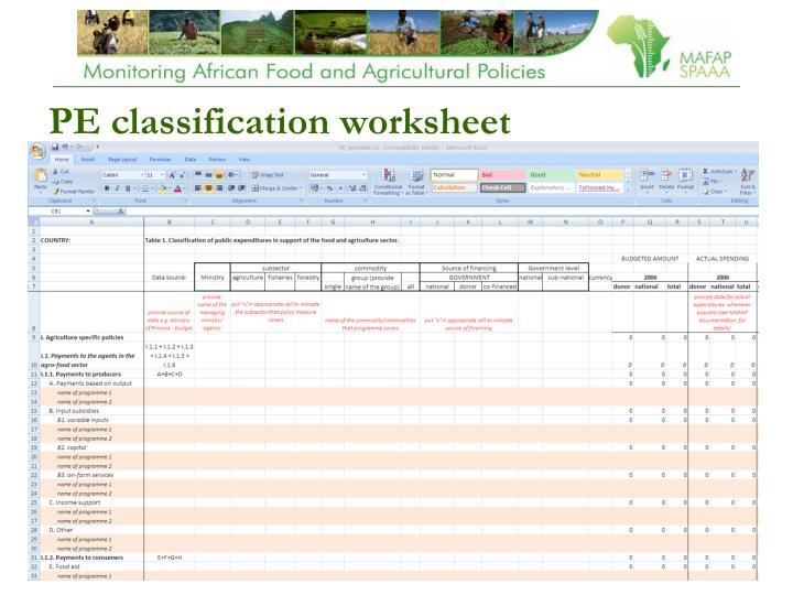 PE classification worksheet