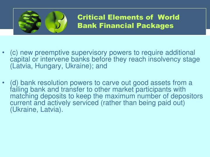 Critical Elements of  World Bank Financial Packages